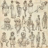 Fashion between the years 1870-1970, drawings — Stockfoto
