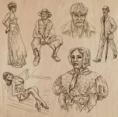 Fashion between the years 1870-1970, vectors — Cтоковый вектор