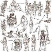 Warriors and Soldiers - Hand drawn pack — Stock Photo