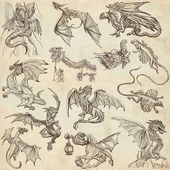 Dragons. An hand drawn freehand sketches. Originals. — Stock Photo
