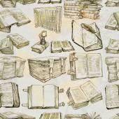 Libros. Paquete de una ilustración de dibujado a mano, inconsútil — Foto de Stock