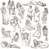 Nudity in Art - Hand drawings, Full sized pack — Stock Photo