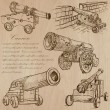 Cannons - An hand drawn vectors. Converted — Vecteur #70935271