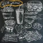 Food - hand drawings on blackboard, pack — Stock Vector #71532517