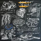 Food - hand drawings on blackboard, pack — Stock Vector