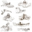 Swimming. Hand drawn collection. Original sketches. — Stock Photo #71557789
