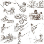 Fishing - Freehand sketches, originals on white — Stock Photo