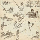 Fishing - Freehand sketches, originals on old paper — Stock Photo