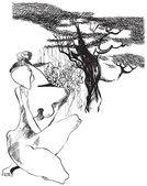 Art of Line Art - Naked woman — Stock Vector