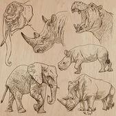 Ağır hayvan - vektör paketi, el çizimleri — Stok Vektör
