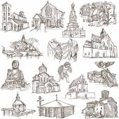 Places of Worship - freehand sketches on paper — Stock Photo