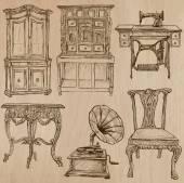 Furniture - Vector sketches, line art — Vector de stock