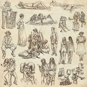 People, Natives. An hand drawn pack on paper — Stock Photo