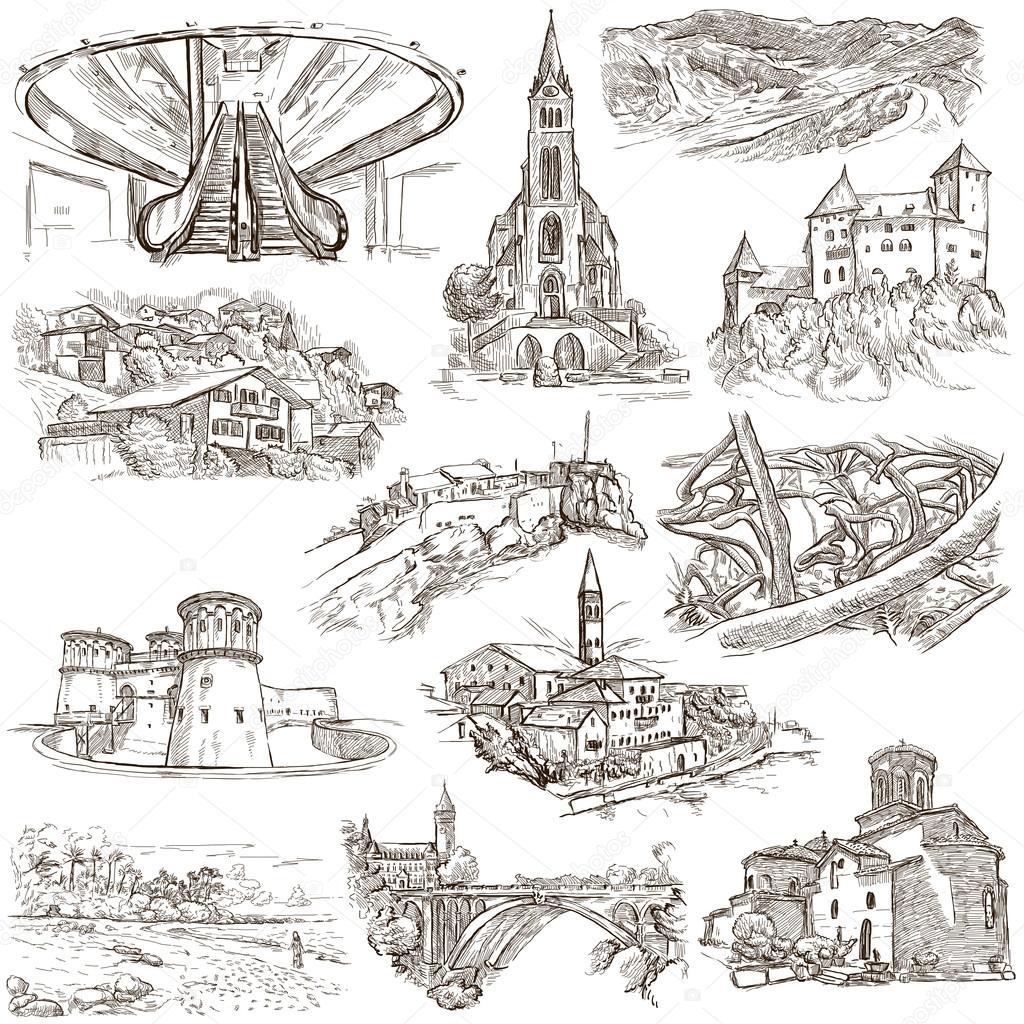 Architektur faous orte freihand skizzen stockfoto kuco 77580830 - Architektur skizzen zeichnen ...