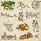 Korsyka - kolekcja ręcznie rysowane na papierze — Zdjęcie stockowe