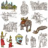 Cambodia - An hand drawn illustrations. Frehand pack. — Stock Photo