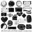 Set of handmade stamps for mail, postage, delivery, address with handdrawn font. Vector illustration. — Vetor de Stock  #52522853
