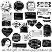 Set of handmade stamps for mail, postage, delivery, address with handdrawn font. Vector illustration. — Stockvektor