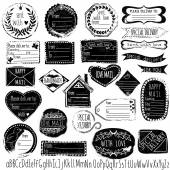Set of handmade stamps for mail, postage, delivery, address with handdrawn font. Vector illustration. — ストックベクタ