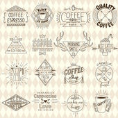 Collection of hipster sketchy coffee labels. Vector illustration — Stock Vector