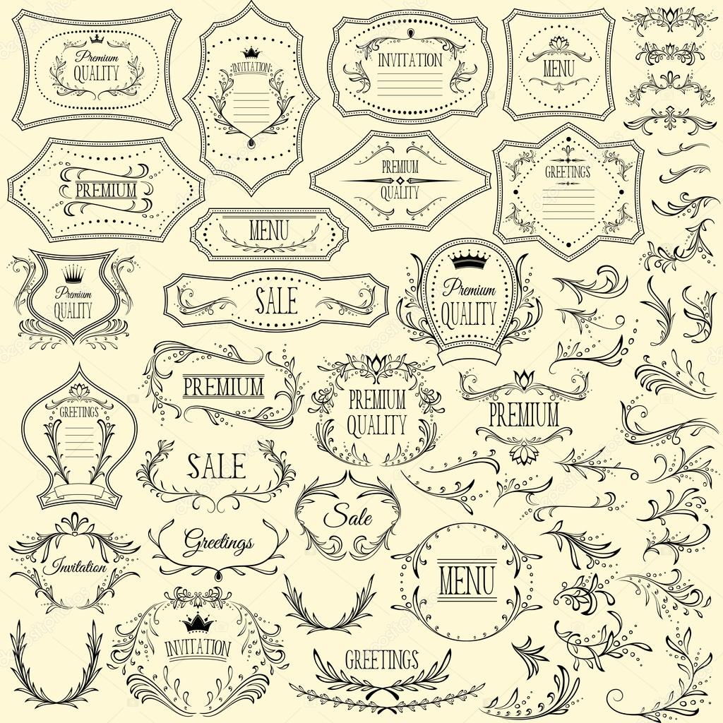 Colección de marcos para invitaciones, saludos y los menús y