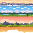 Four seasons landscape cartoon seamless backgrounds set. — Stock Vector #57926701