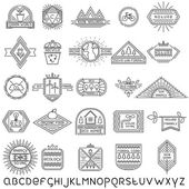 Set of 25 linear ecology labels and linear font — Stock Vector