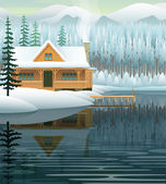 Vector winter landscape with mountain lake and wooden house — Stock Vector
