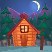 Desenho vetorial de madeira pequena cabana no bosque à noite — Vetor de Stock