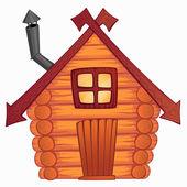 Vector cartoon wooden little shack — Stock Vector