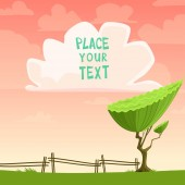 Vector cartoon placard with a tree — 图库矢量图片