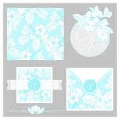 Invitation set with blossom pattern — Stock Vector