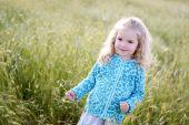 Happy little girl in the field — Stock Photo