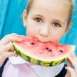 Funny child eating watermelon  — Stock Photo #53044185