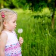 Adorable little girl blowing off dandelion — Stock Photo #65171663
