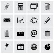 Vector black office icons set — Stock Vector #59202183