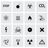 Vector black danger icons set — Stock Vector