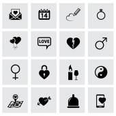 Vector black love icons set — Stock Vector