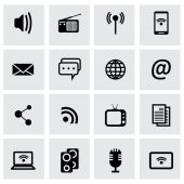 Vector black media icons set — Stock Vector