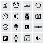 Vector black time icons set — Stock Vector