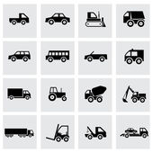 Vector black vehicles icons set — Stock Vector
