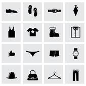 Vector black clothes icon set — Stock Vector