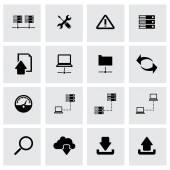 Vector black FTP icon set — Stock Vector