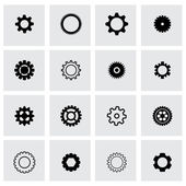Vector black gear icon set — Stock Vector