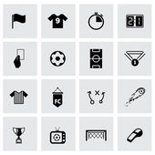 Vector black soccer icon set — Stock Vector