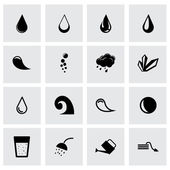 Vector black water icon set — Stock Vector