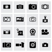 Vector black camera icon set — Stock Vector