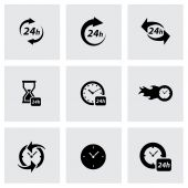 Vector black clock icon set — Stockvector