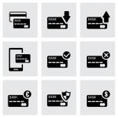 Vector black credit card icon set — Stock Vector