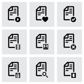 Vector black documents icon set — Stock Vector